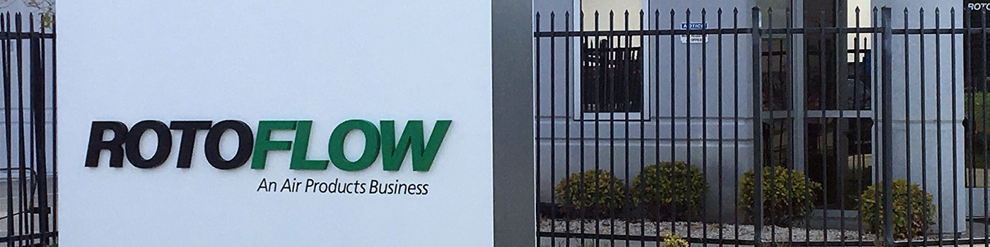 Photograph of Rotoflow sign outside the Rotoflow service center in Houston, TX